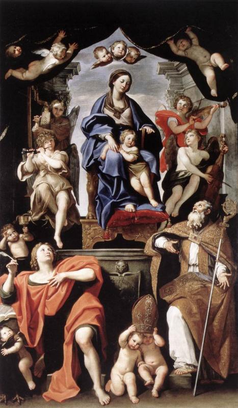 Доменикино . Мадонна с младенцем и Иоанном Крестителем