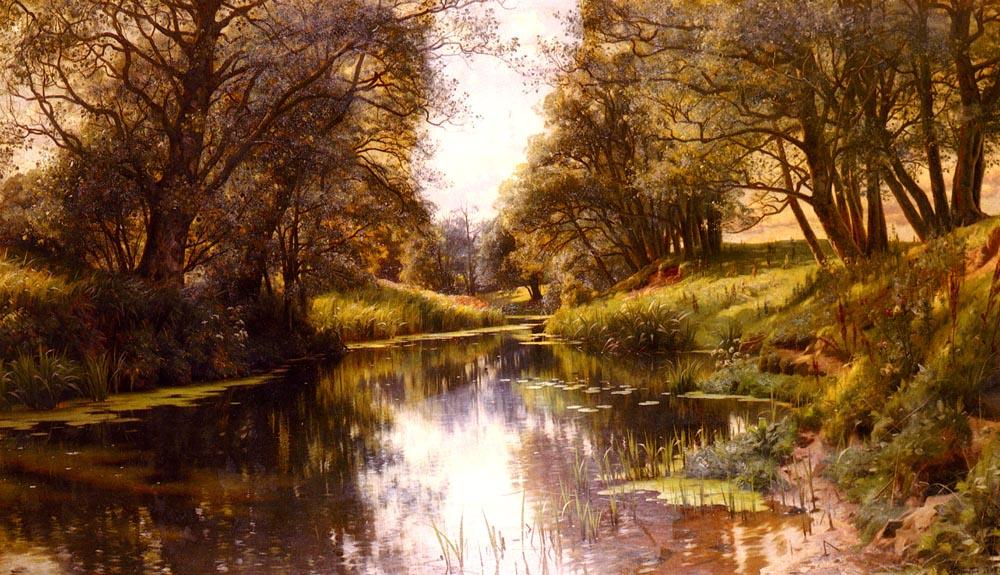 Peder Mørk Mønsted. The stream in the summer