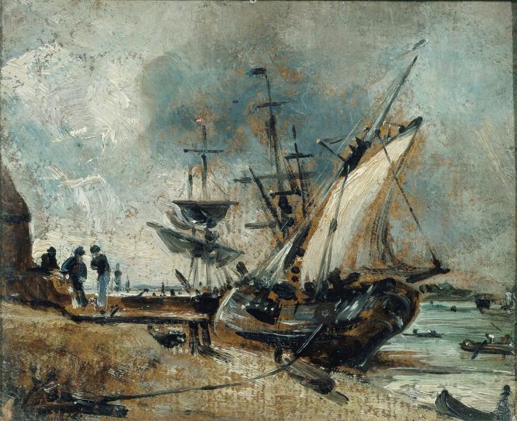 John Constable. Boats at the shore, Ipswich