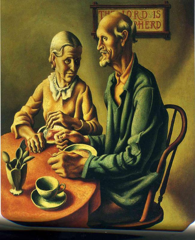 Thomas Hart Benton. An elderly man and woman