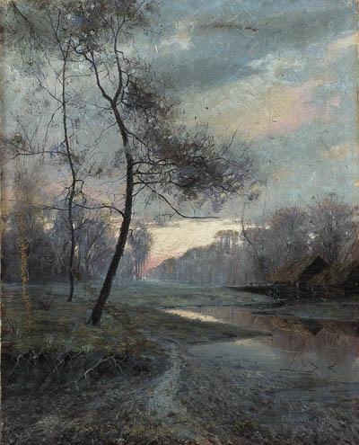 Alexey Savrasov. Rural landscape at sunset