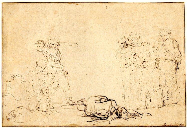 Rembrandt Harmenszoon van Rijn. Three men being beheaded