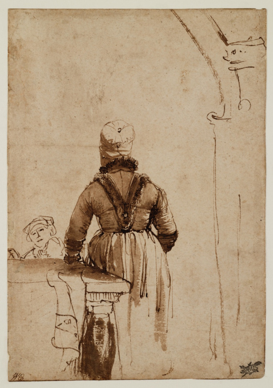 Rembrandt Harmenszoon van Rijn. Woman in severogermanskim outfit (Gertie Dirks?)