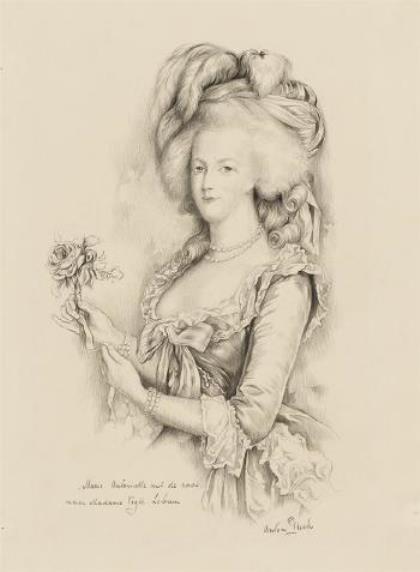 Anton Pieck. Marie Antoinette with the rose (Madame vig Lebrun)