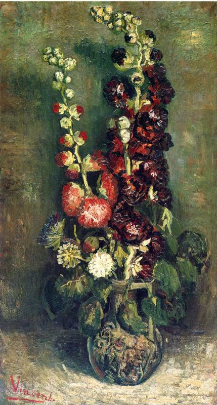 Vincent van Gogh. Vase with hollyhocks