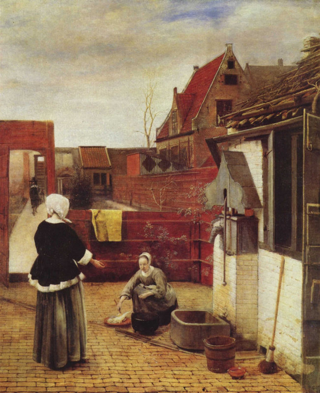 Pieter de Hooch. A Woman and her Maid in a Courtyard