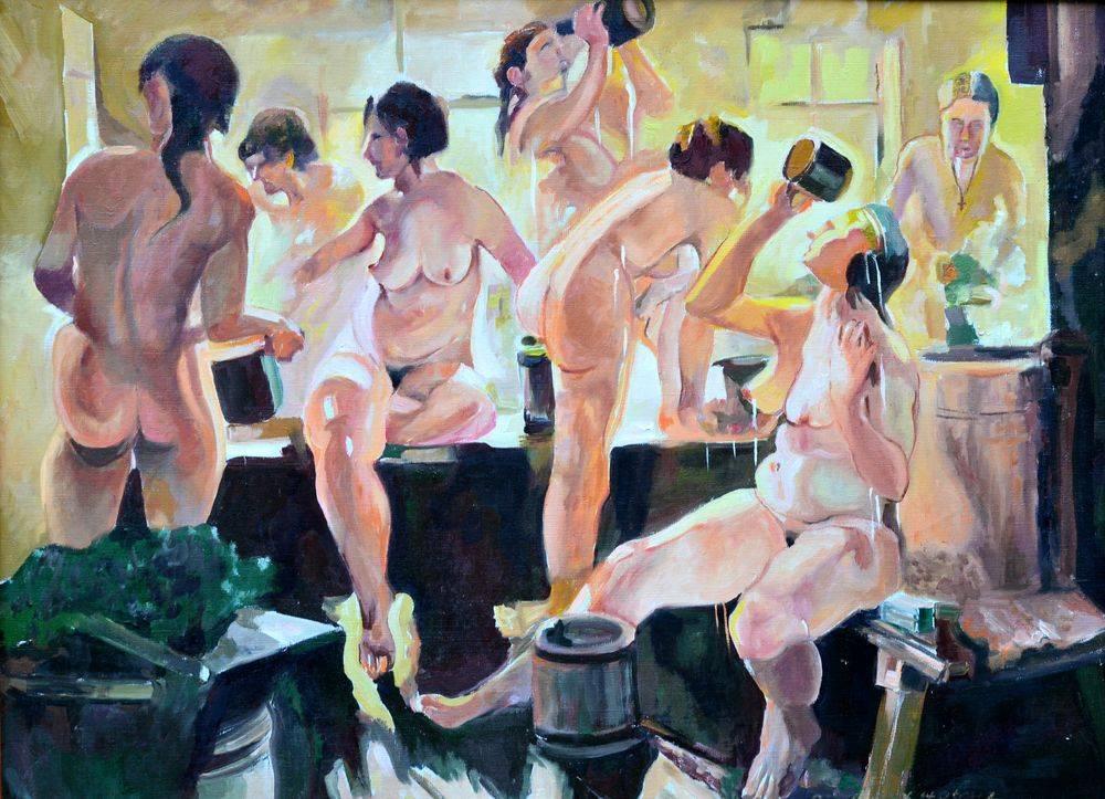 денис в женской бане поправляя