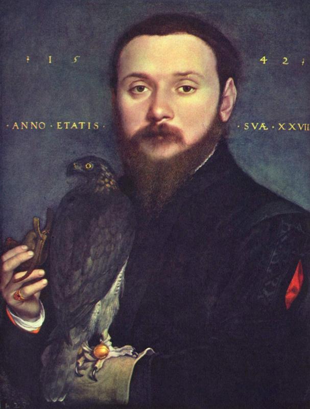 Ганс Гольбейн Младший. Портрет дворянина с соколом