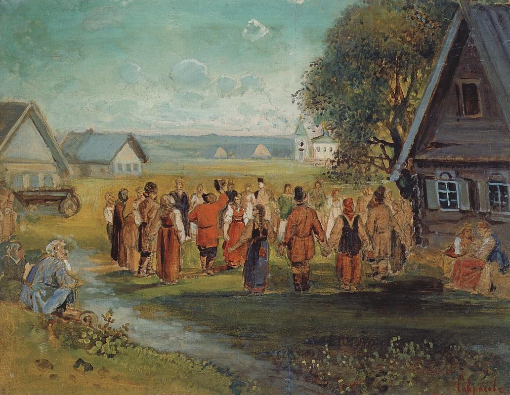 Алексей Кондратьевич Саврасов. Хоровод в селе. Эскиз-вариант картины, исполненной в 1874 году