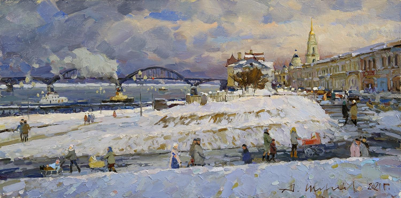 Alexander Shevelyov. Embankment in Rybinsk, D.V.P., oil, 30 x 61.3 cm. 2021