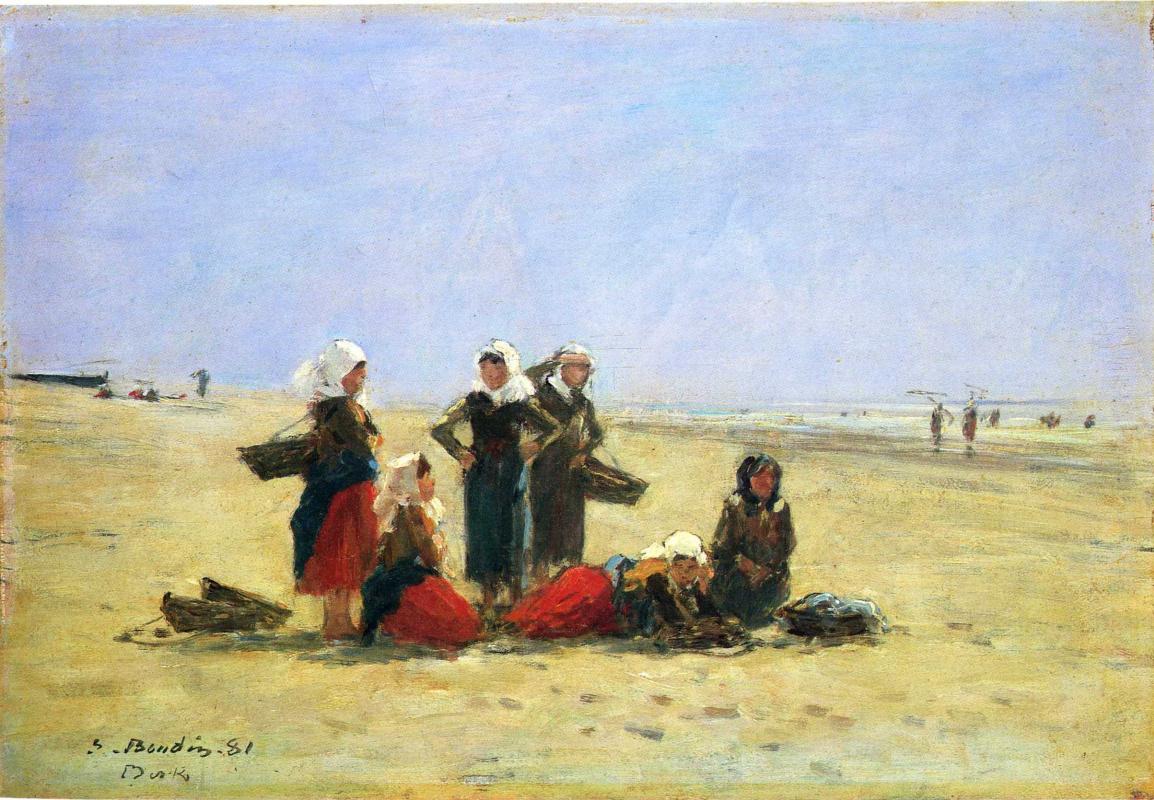 Eugene Boudin. Fisherwoman on the beach in Berck