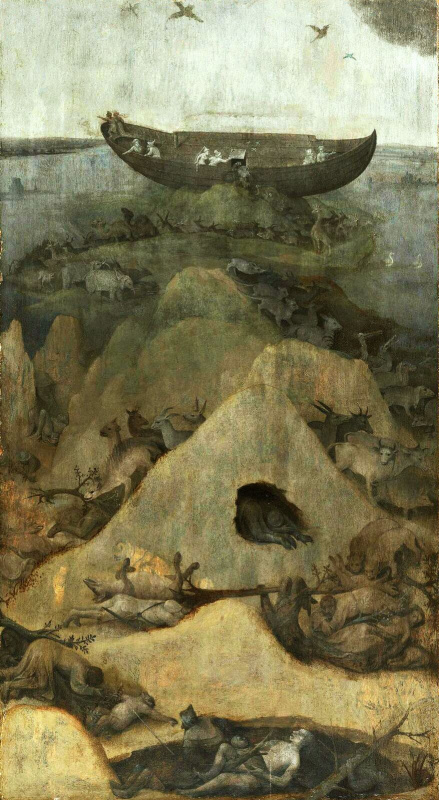 Иероним Босх. Ноев ковчег на горе Арарат. Диптих Ад и Потоп. Левая створка