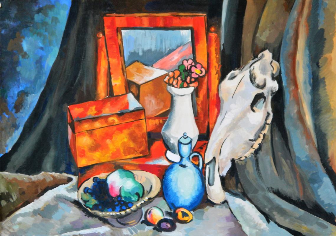 Елизавета Александровна Рыбина. Still life with a horse skull - a copy of the work of Ilya Mashkov