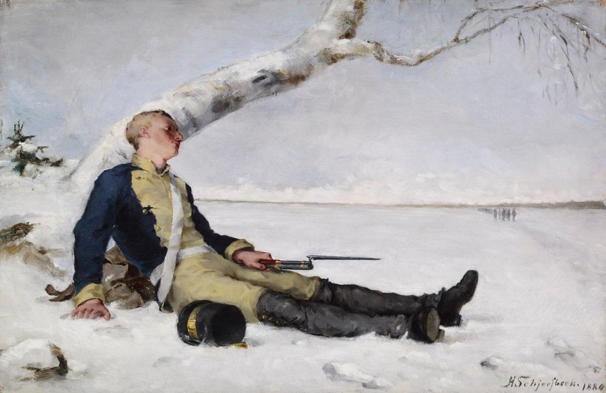Helena Sophia Scherfbek. Wounded soldier in the snow