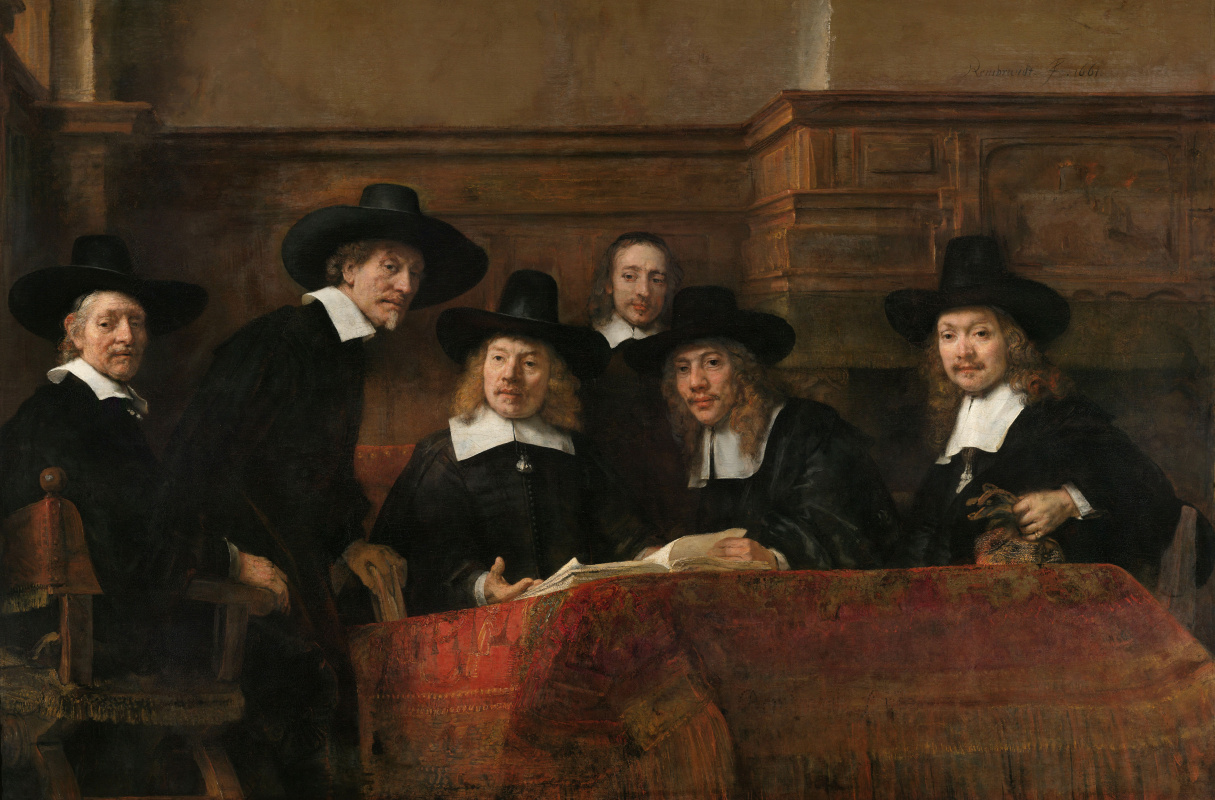 Rembrandt Harmenszoon van Rijn. The Syndic, or a Portrait of elected members of the shop clothiers
