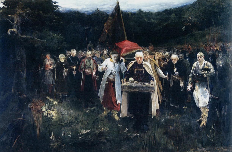За работу «Похороны кошевого», представленную в 1900 году на конкурс, Александр Мурашко получил золо