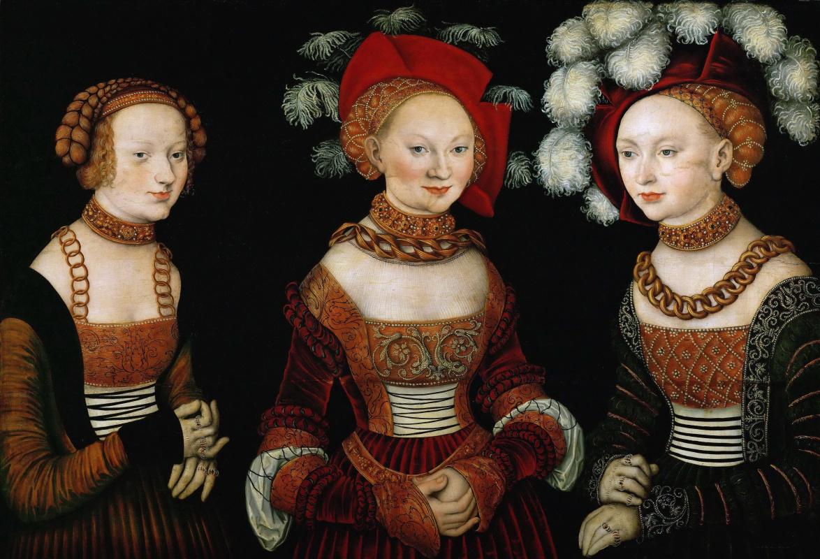 Lucas Cranach the Elder. The Princesses Sibylla, Emilia and Sidonia of Saxony