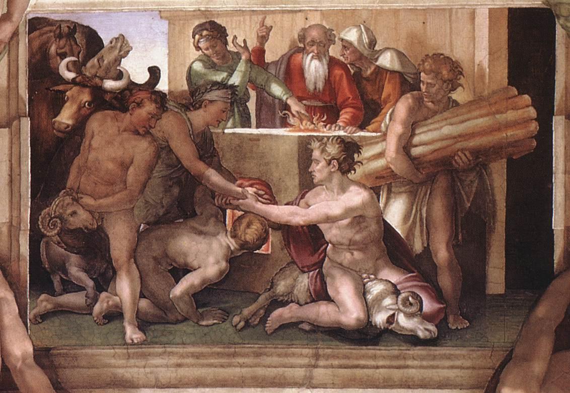 Микеланджело Буонарроти. Жертвоприношение Ноя.