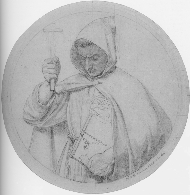 """Ford Madox Brown. Monk-Catholic. A sketch for the painting """"Wycliffe reading his translation of the Bible"""""""