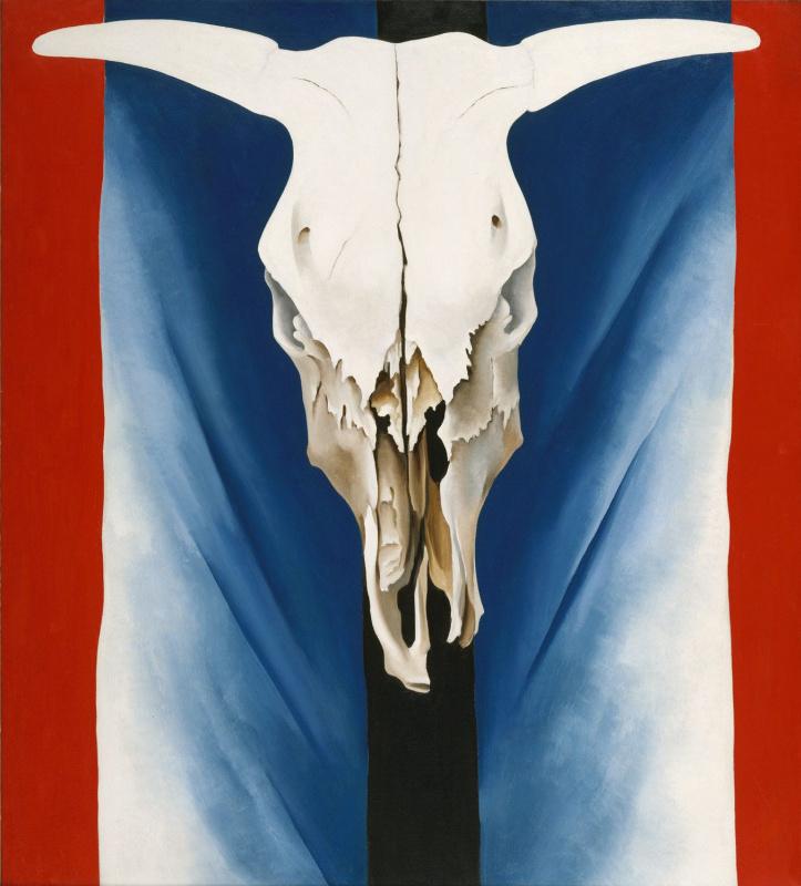 Джорджия О'Киф. Череп коровы: красное, белое, синее
