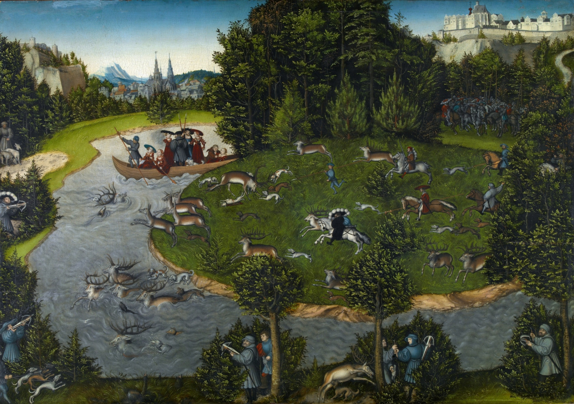 Lucas Cranach the Elder. Deer hunt with the elector Friedrich the Wise