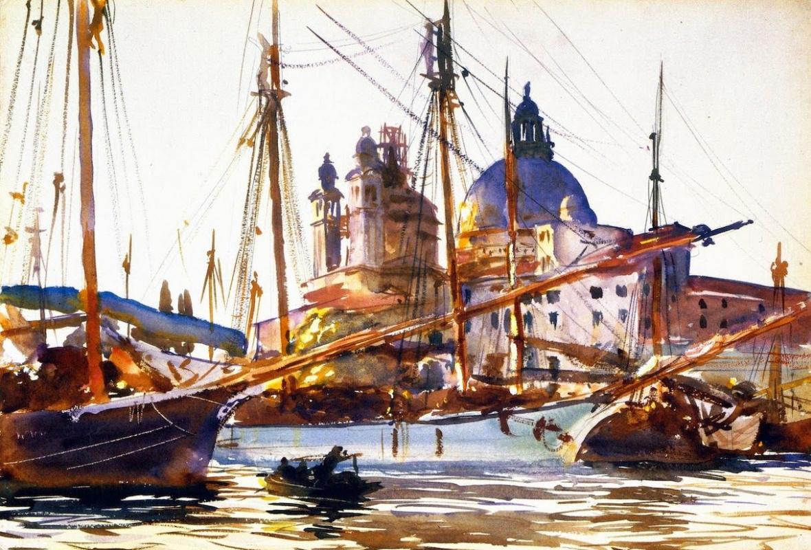 Джон Сингер Сарджент. Лодки у церкви Санта-Мария-делла-Салюте, Венеция