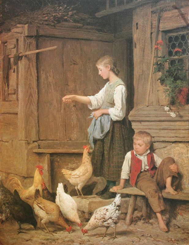 Альберт Анкер. Молодая девушка кормит кур