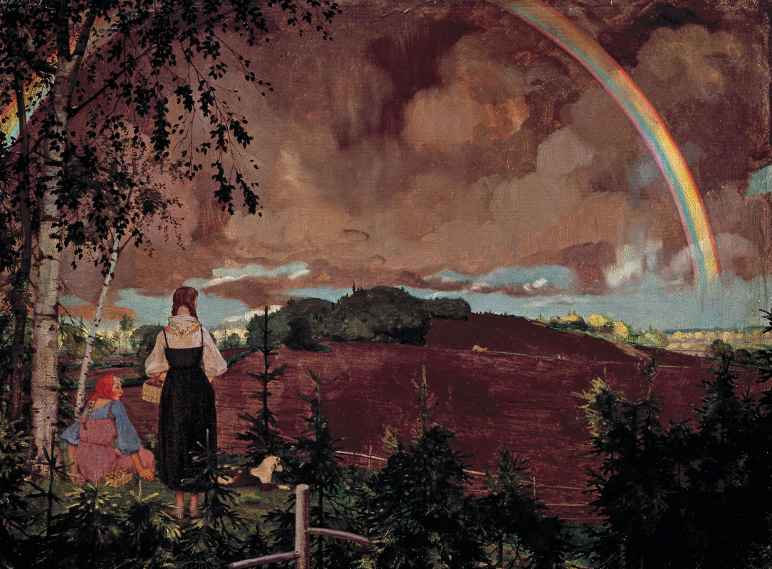 Constantin Somov. Landscape with two peasant girls and a rainbow (rainbow)