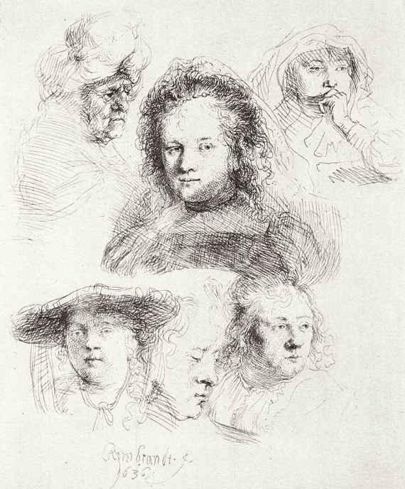 Рембрандт Ван Рейн. Лист этюдов с шестью женскими головами