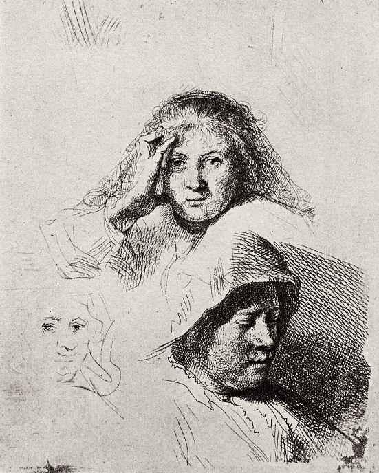Рембрандт Ван Рейн. Лист с этюдами трех женских голов