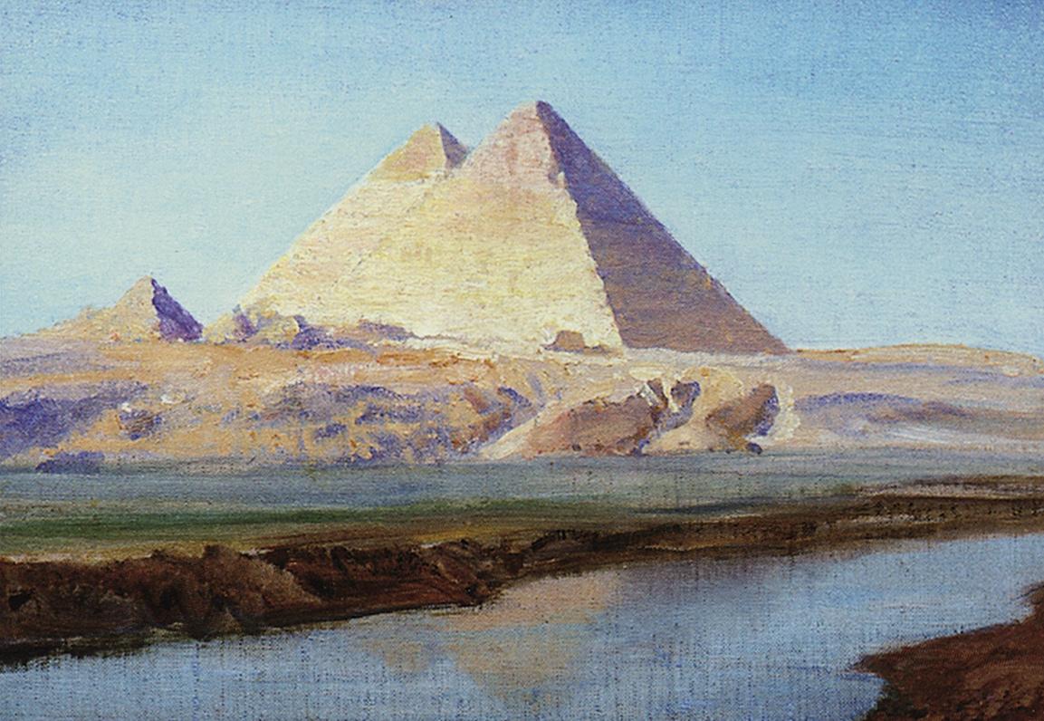 Vasily Polenov. Large pyramids of Khufu and Khafre