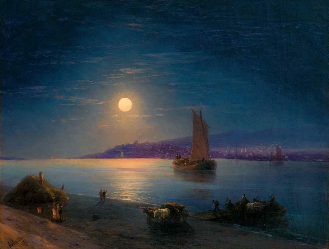 Ivan Aivazovsky. Moonlit night on the Dnieper