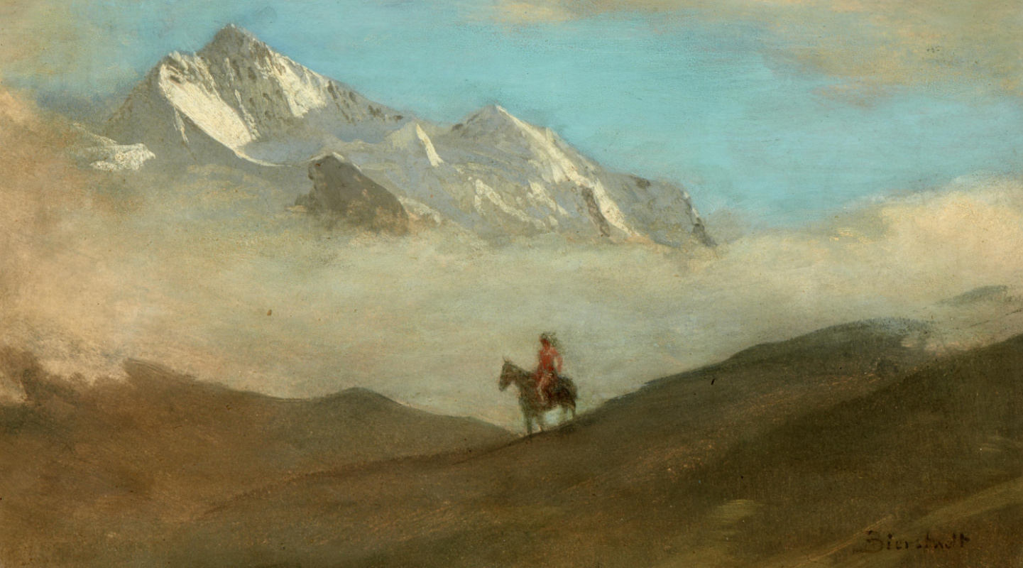 Альберт Бирштадт. Индеец на лошади в горах