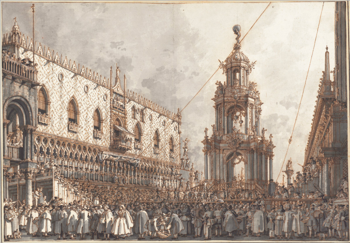 Giovanni Antonio Canal (Canaletto). Fat Thursday Festival in front of the Doge's Palace in Venice