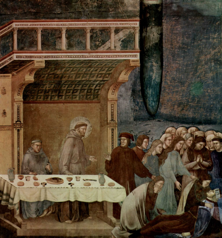 Giotto di Bondone. The cycle of frescoes of the life of St. Francis of Assisi. The death of knight of Celano