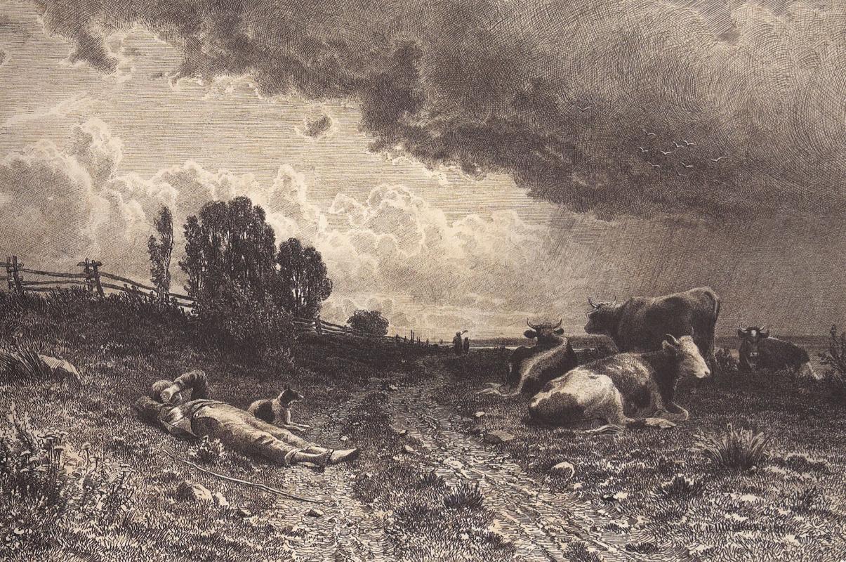 Иван Иванович Шишкин. Летом в поле (Пастух со стадом)