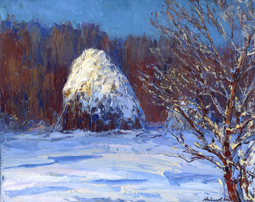 """Konstantin Leonidovich Antipov. ,, Evening stack at the edge of the forest """""""