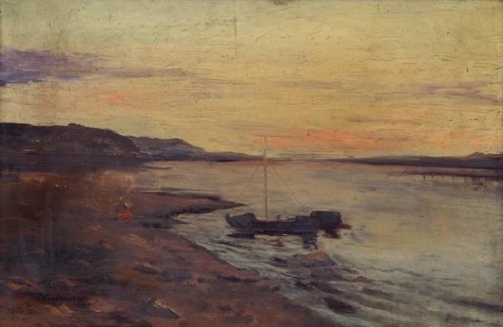 Maria Markovna Dzhagupova. Fishing boat in the bay