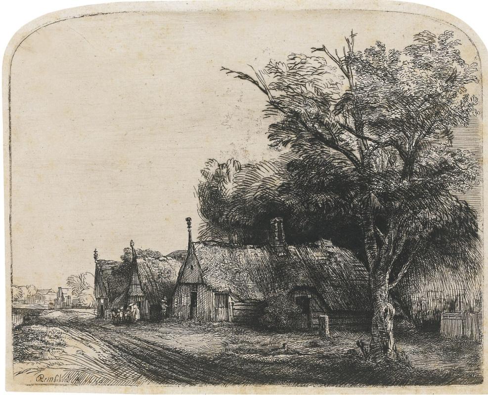 Рембрандт Харменс ван Рейн. Пейзаж с тремя хижинами вдоль дороги