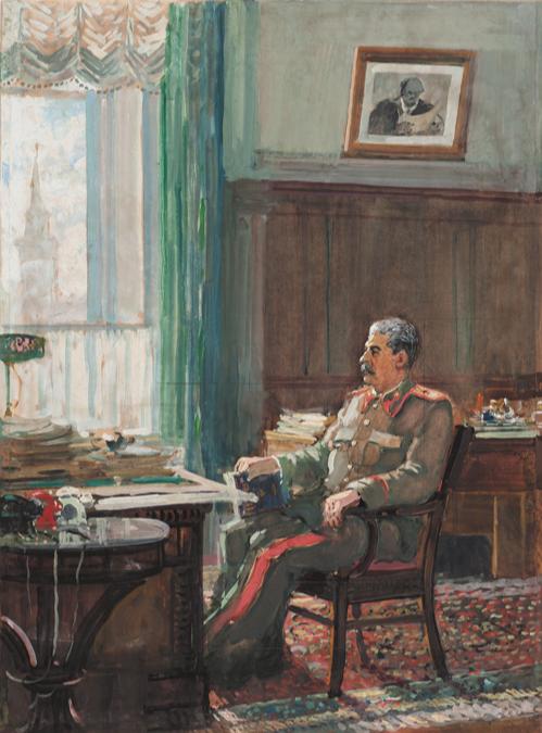 Alexander Mikhailovich Gerasimov. Stalin in the office.