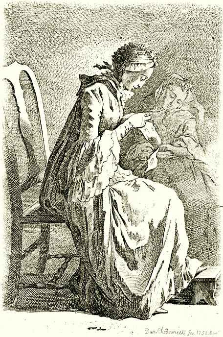 Даниэль  Николай Ходовецкий. Две сидящие женщины