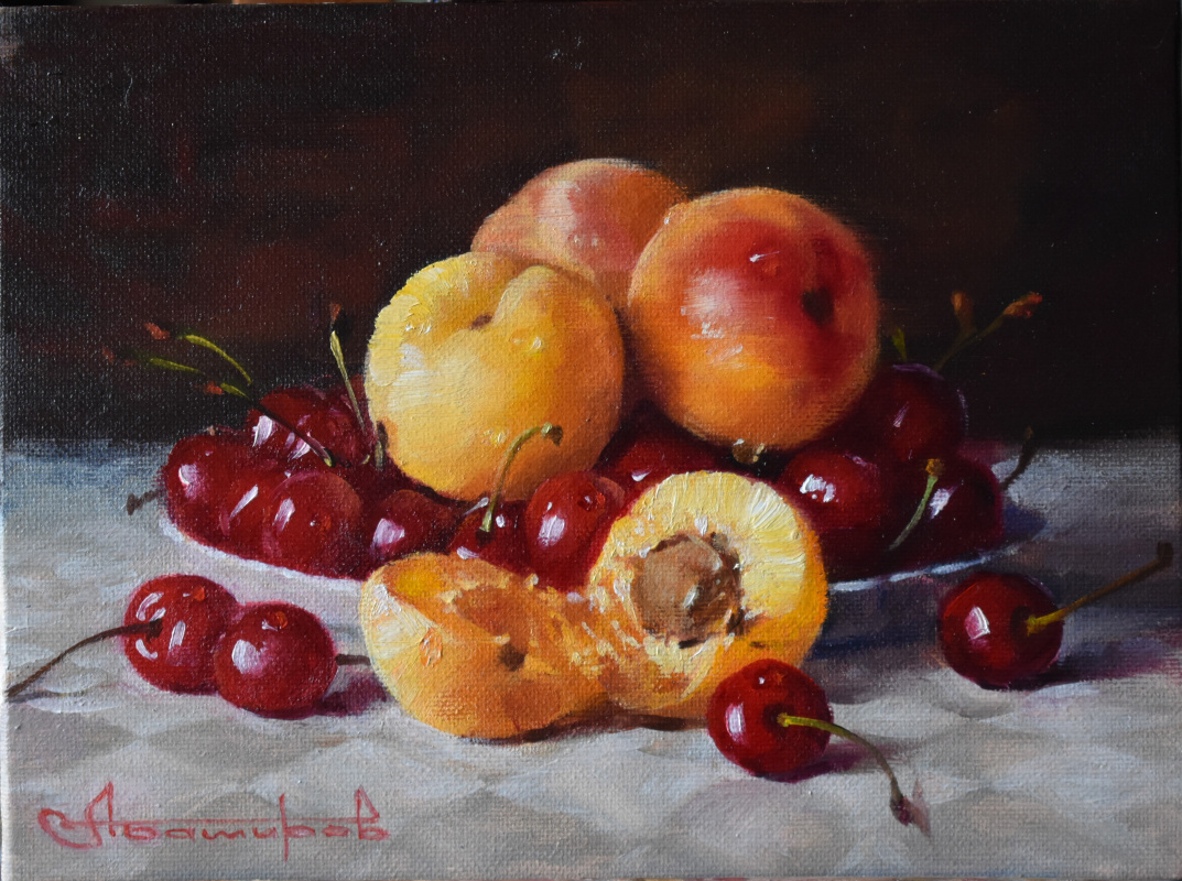 Andrey Bashirov. Red cherries and apricots