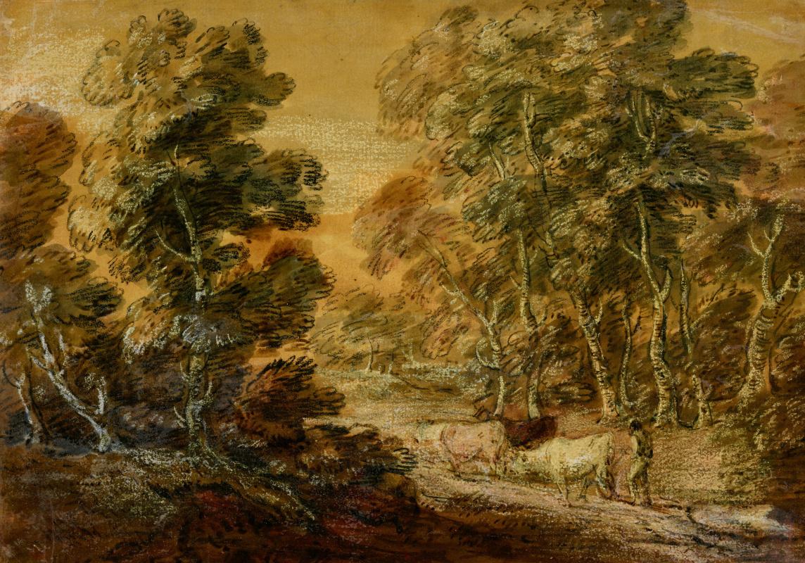 Томас Гейнсборо. Лесной пейзаж с дорогой, пастухом и коровами