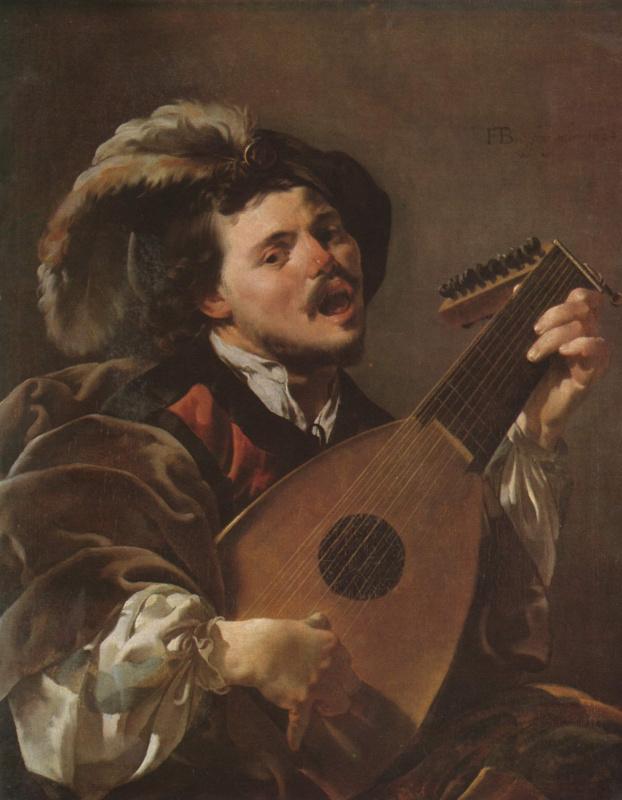 Хендрик Янс Тербрюгген. Мужчина, играющий на лютне и поющий