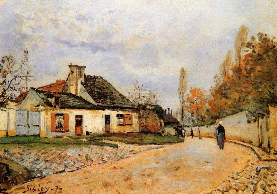 Alfred Sisley. Street of the village (Neighbors in Louveciennes)