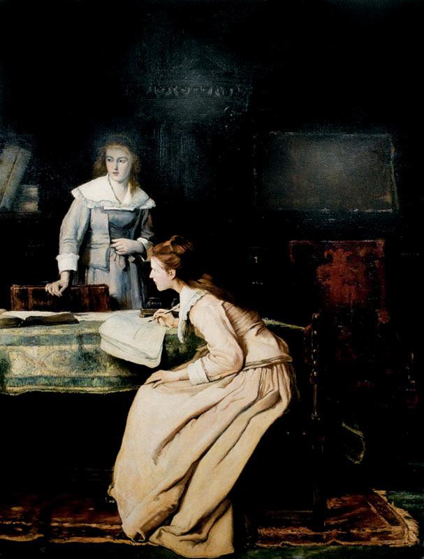 """Михай Либ Мункачи. Пишущая девушка. Эскиз для картины """"Мильтон, диктующий дочерям поэму """"Потерянный рай"""""""