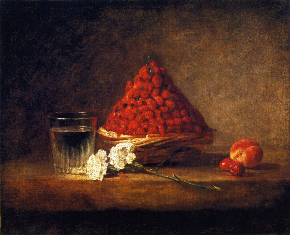 Жан Батист Симеон Шарден. Натюрморт со стаканом воды и корзиной клубники