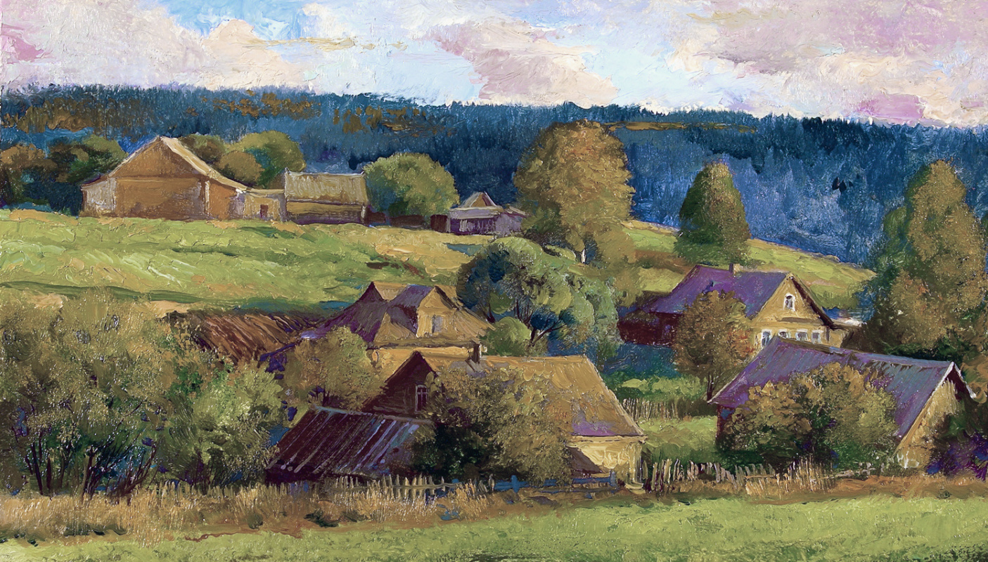 Alexander Shevelyov. Village. Oil on cardboard 20.2 x 35 cm 2005