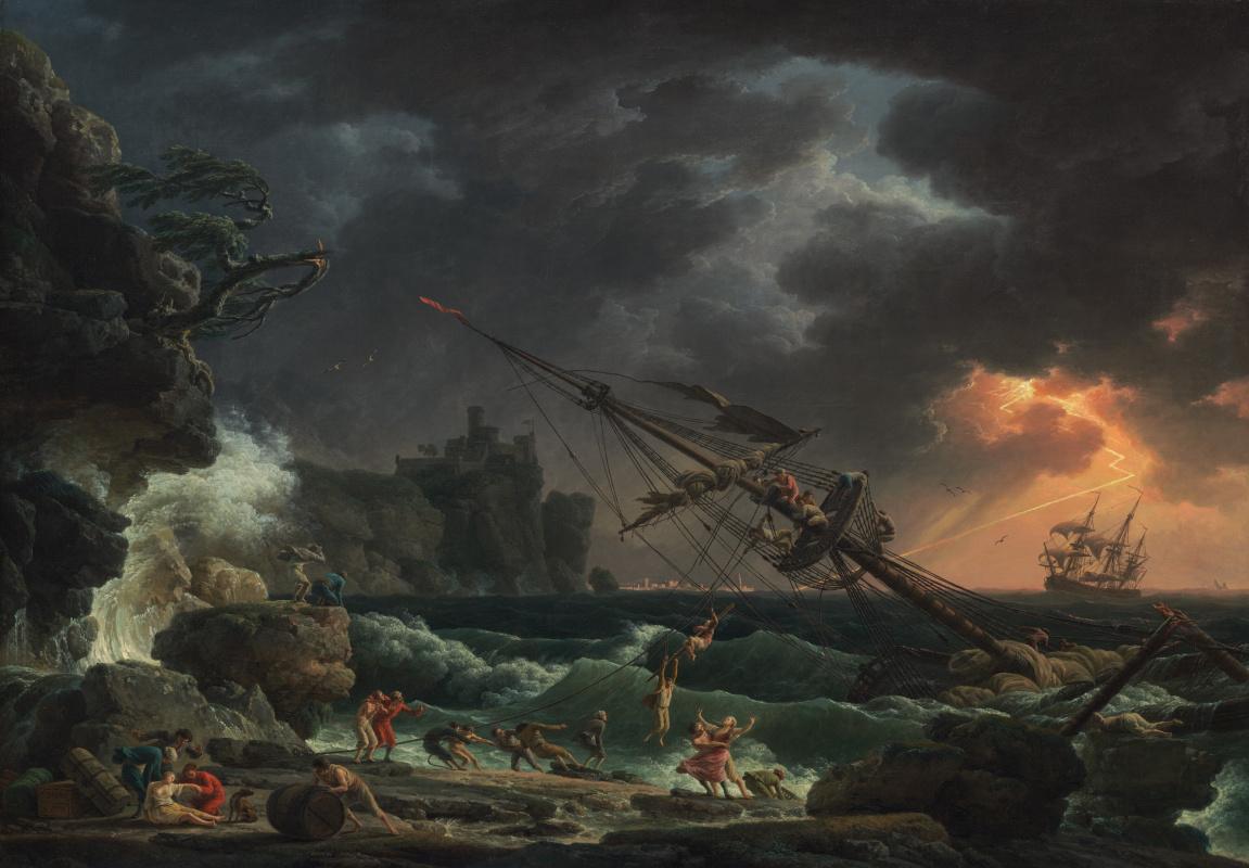 Claude Joseph Vernet. Shipwrecked during a storm