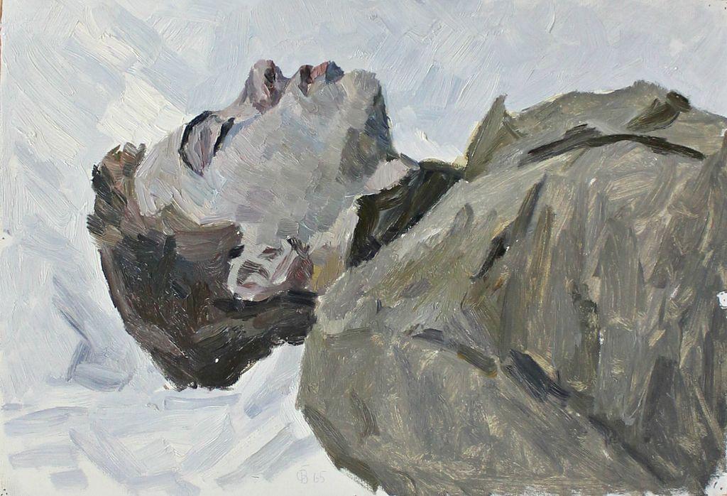 Orest Georgievich Betekhtin. Head of a youth lying in the snow